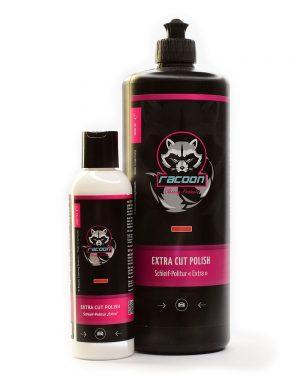Leštiaca pasta hrubá Extra cut polish v dvoch fľašiach rôznej veľkosti s logom autokozmetiky Racoon Cleaning Products