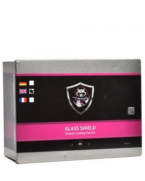 Plechová krabička obsahujúca set keramickej ochrany na sklo s etiketou a logom autokozmetiky Racoon Cleaning Products