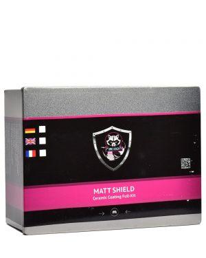 Plechová krabička obsahujúca set keramickej ochrany matných lakov s etiketou a logom autokozmetiky Racoon Cleaning Products