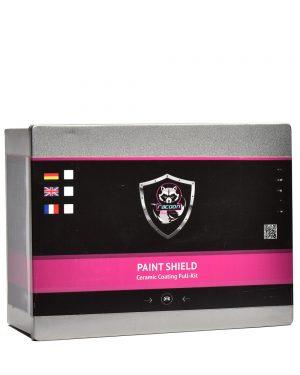 Plechová krabička obsahujúca set keramickej ochrany na lak auta s etiketou a logom autokozmetiky Racoon Cleaning Products
