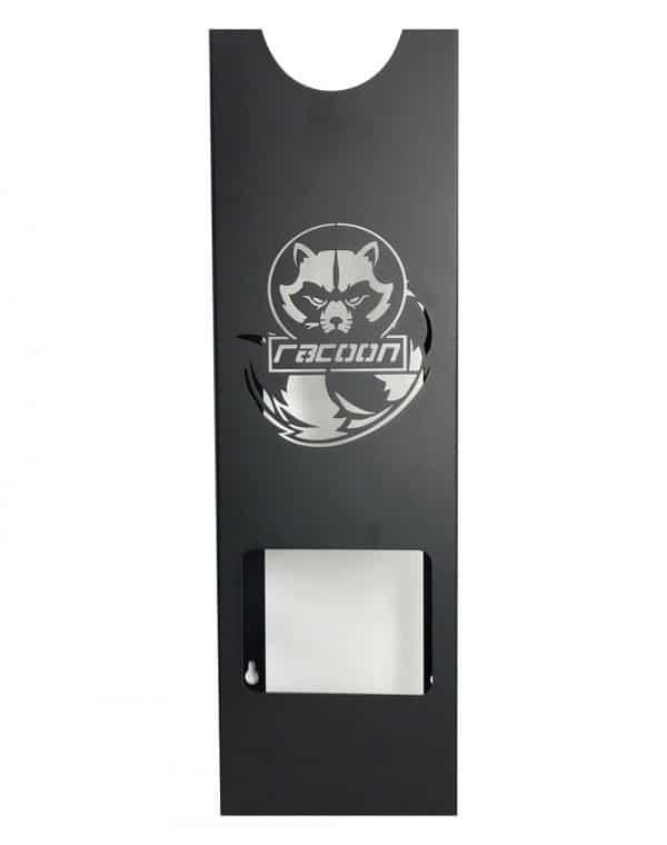 plechový držiak čiernej farby s vypáleným logom Racoon Cleaning products na jednu leštičku