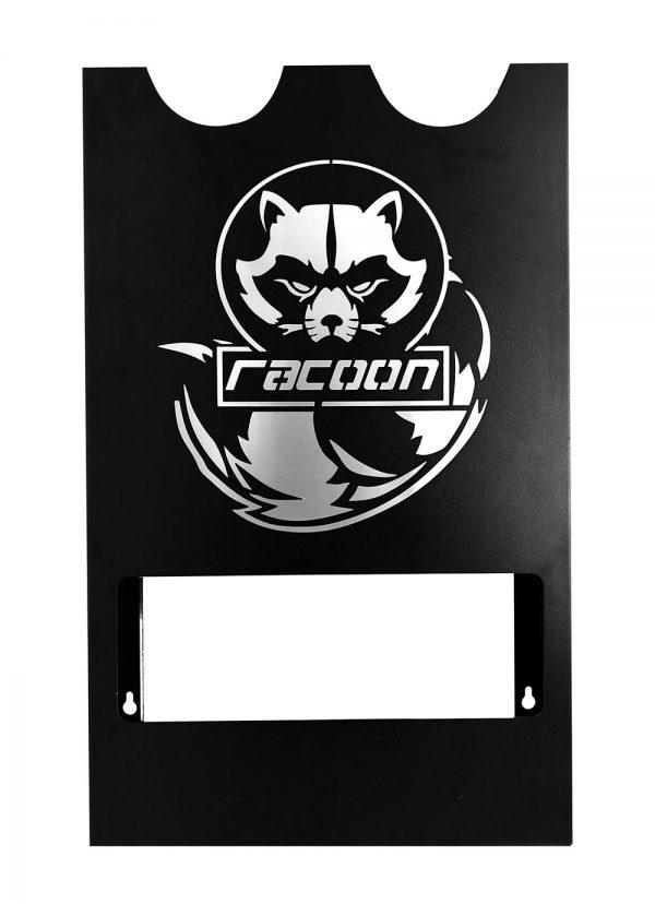 plechový držiak čiernej farby s vypáleným logom Racoon Cleaning products na dve leštičky