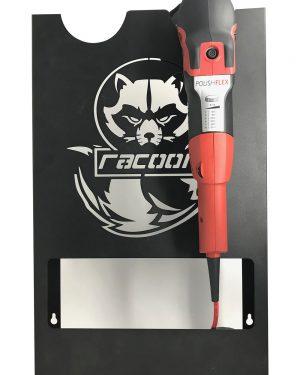 plechový držiak čiernej farby s vypáleným logom Racoon Cleaning products na dve leštičky a leštiška Flex