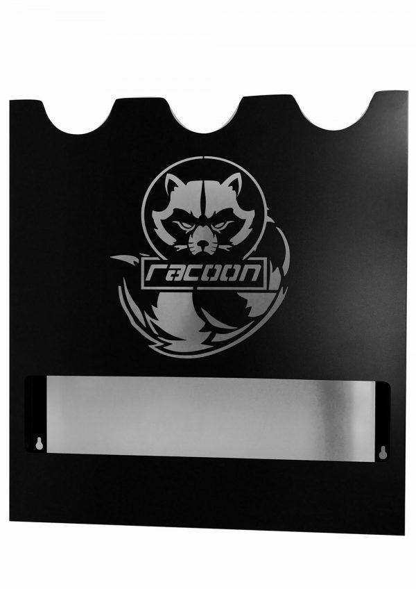 plechový držiak čiernej farby s vypáleným logom Racoon Cleaning products na tri leštičky