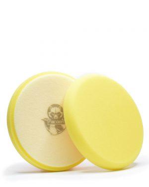dva žlté mäkké penové leštiace kotúče s logom autokozmetiky Racoon Cleaning Products