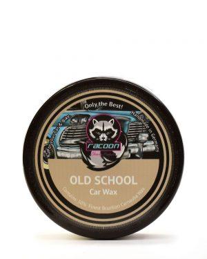okruhlá čierna tuba obsahujúca tuhý tvrdý autovosk na lak automobilu old school, obsahujúci 50% pravého karnaubskeho vosku najvyššej kvality T1 s logom autokozmetiky Racoon Cleaning Products