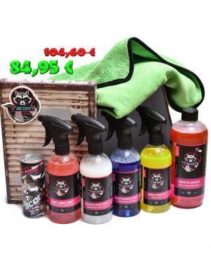 darčeková krabička ako set produktov autokozmetiky Racoon Cleaning Products, Zelená sušiaca utierka Racoon, priehľadné fľaše s produktmi, ružový autošampón crazy flamingo, žltý prípravok Wheel Tornado, modrý insect remover wrap, biely ultimate shine wrap, ružový wet shield matt, energetický nápoj Racoon a Závesná vôňa Racoon