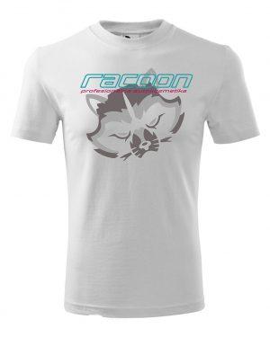 biele tričko s logom racoon a vertikálnym nápisom