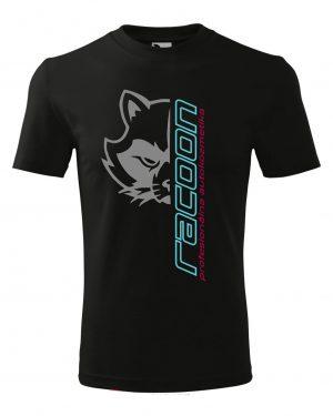 čierne tričko s logom racoon a vertikálnym nápisom