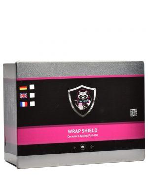 Plechová krabička obsahujúca set keramickej ochrany na fólie s etiketou a logom autokozmetiky Racoon Cleaning Products