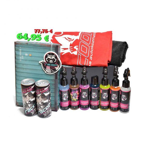 darčeková krabička a štartovací set produktov pre profi aj hobby umývanie automobilu, červené tričko racoon, čierna mikrovláknová utierka, dva energetické nápoje Racoon, závesná vôňa racoon a set produktov starostlivosti o automobil Racoon Cleaning Products