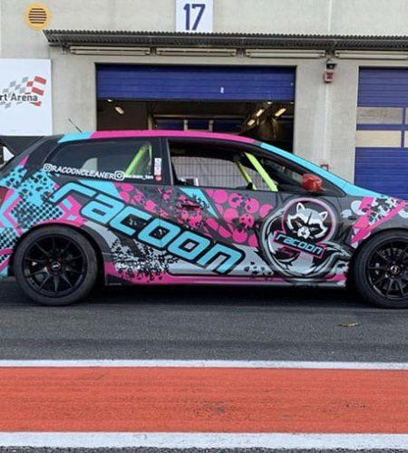 Honda Civic V reklamnom polepe autokozmetiky Racoon Cleaning Products v depe okruhu nurburgring